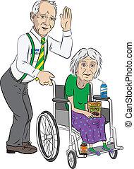 homem sênior, com, senhora, em, cadeira rodas