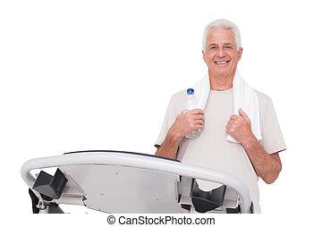 homem sênior, ligado, a, treadmill