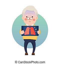 homem sênior, pulmão, inflamação, tendo