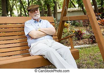 homem sênior, relaxante