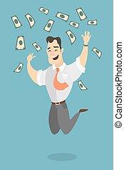 homem saltando, com, dinheiro.