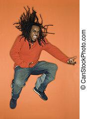 homem saltando, com, enthusiasm.