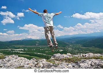 homem, salto, de, montanha