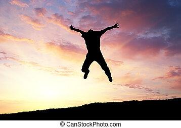 homem, salto, para, céu