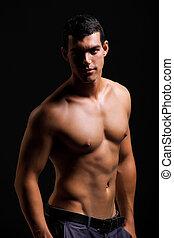 homem, saudável, jovem, muscular
