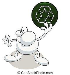 homem segura sinal, reciclagem