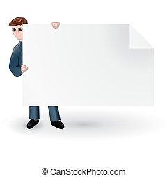 homem, segurando, a, em branco, cartão papel