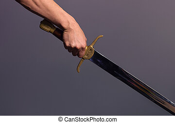 homem, segurando, atlético, seu, espada, jovem