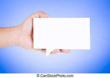 homem, segurando, em branco, papel, borbulho fala