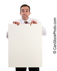 homem, segurando, folha papel