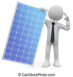 homem, segurando, painel solar