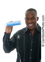 homem, segurando, toothpaste, tubo