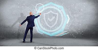 homem, segurando, um, escudo, teia, segurança, conceito, 3d, fazendo
