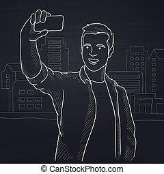homem, selfie., fazer