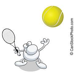 homem, servindo, em, tênis