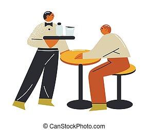 homem, servindo, jovem, abertos, bebidas, garçom, alimento, varanda, convidado