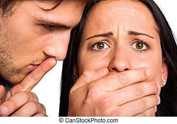 homem, seu, boca, namoradas, cobertura
