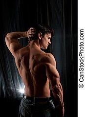 homem, seu, costas, flexes, bonito