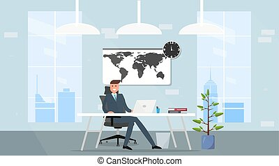 homem, seu, negócio, trabalhando, concept., ilustração, ou, desktop., freelancer, frente, escritório lar, laptop, man., feliz