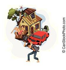 homem, seu, trabalho, illustration., casa, carregar, costas, dinheiro, crédito, vetorial, dept, conceitos, história, caricatura, car