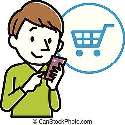 homem, shopping, jovem, ilustração, online