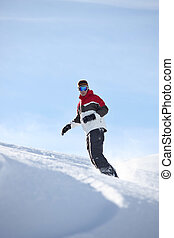 homem, snowboarding, sozinha