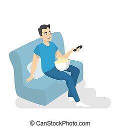 homem, sofá, televisão assistindo, com, estouro, corn.