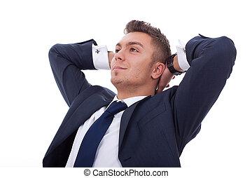 homem, sonhar, relaxado, negócio