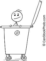 homem sorridente, cutucar, saída, de, a, dumpster, lixo,...