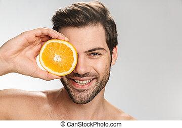 homem sorridente, segurando, foto, laranja, metade-despido, ...