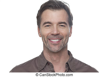 homem, sorrindo, isolado, branco