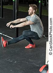 homem, squat, perna, um