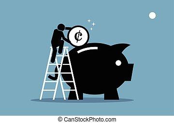homem subobe, cima, ligado, um, escada, e, pôr, dinheiro, em, um, grande, piggy, bank.