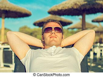 homem, sunbathing, praia, vacation.