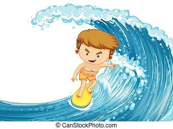 homem, surfando, ligado, a, onda grande
