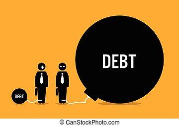 homem, surpreendido, por, outro, pessoas, enorme, debt.