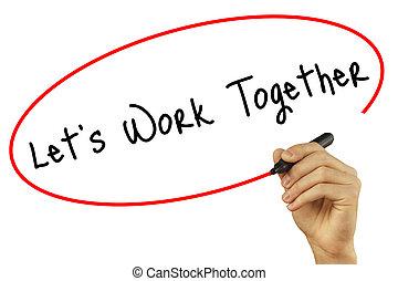 homem, tecnologia, foto, concept., trabalho, isolado, junto, negócio, experiência., visual, lets, pretas, mão, screen., internet, marcador, escrita, estoque