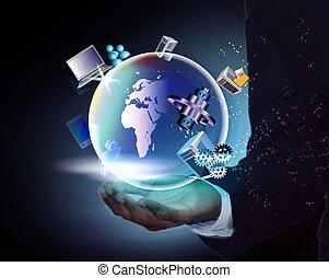 homem, tecnologia, negócio, mão