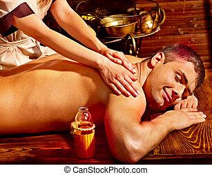 homem, tendo, ayurvedic, spa, treatment.