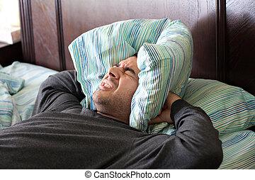 homem, tendo, problema, dormir