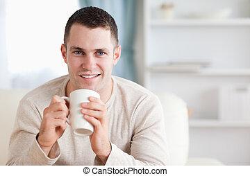 homem, tendo, um, café
