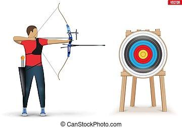 homem, tiro com arco, desporto, arqueiro, arco