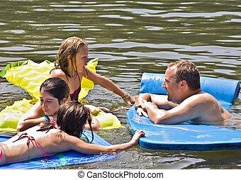 homem, tocando, com, crianças, em, água