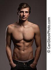 homem, torso, jovem, pelado, bonito