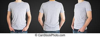 homem, três, t-shirt