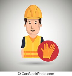 homem, trabalhador, proteção, ferramentas, ícone