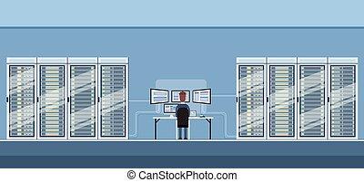 homem, trabalhando, dados centram, técnico, sala, hosting,...