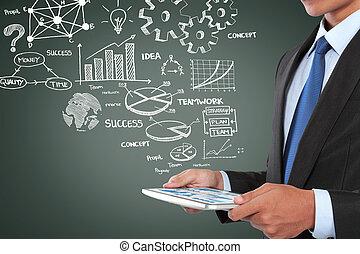 homem, trabalhar, plano negócio, usando, pc tabela