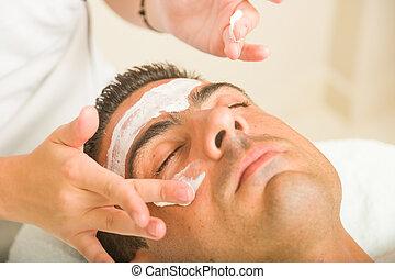 homem, tratamento, rosto, obtendo