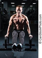 homem, treinamento, músculos abdominais, em, a, condicão física, sala